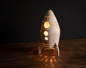 Rocket Night Light - Wooden Bedside Lamp - Space Themed Kid's Room and Nursery Decor