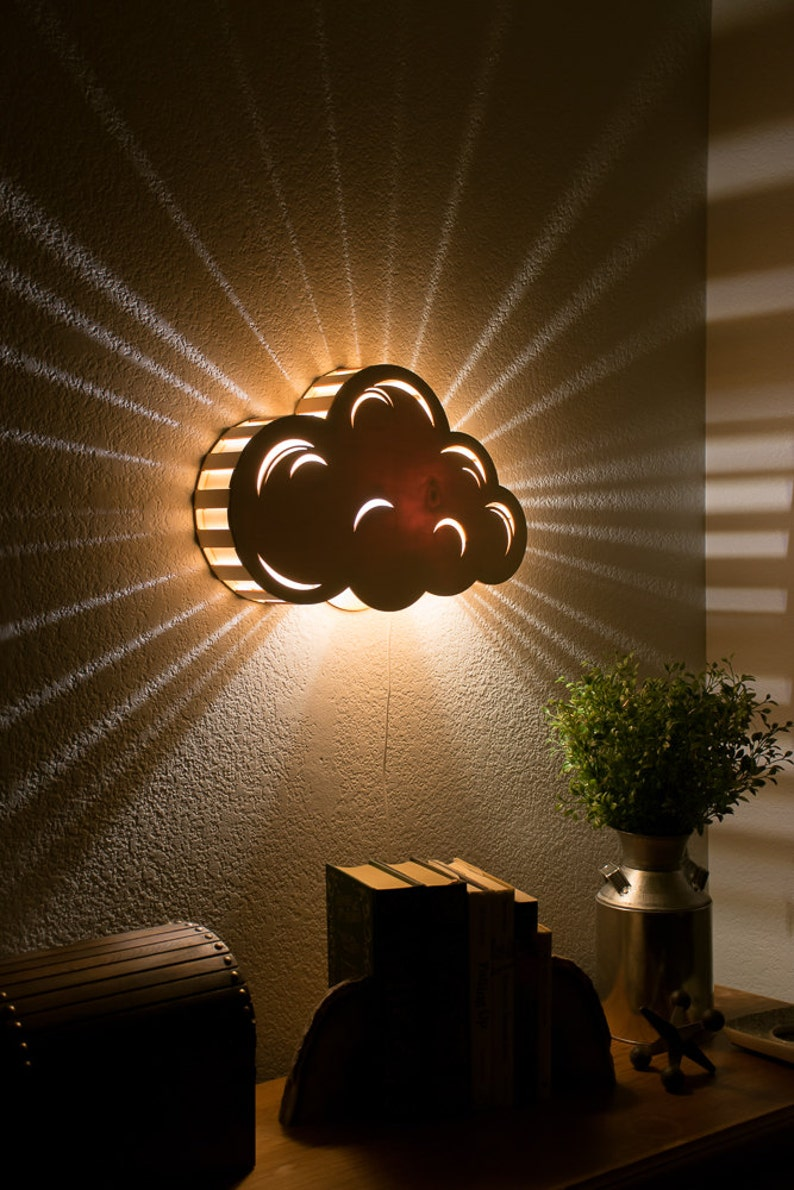 Cloud Night Light  Wooden Wall Hanging Bedside Lamp  White