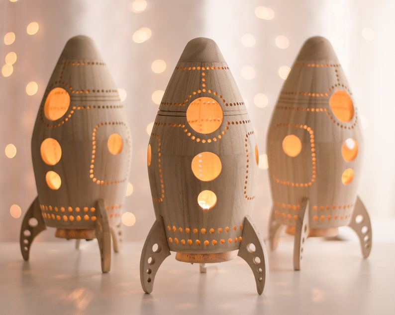 Rocket Night Light  Wooden Bedside Lamp  Space Themed image 0