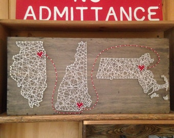 Triple State String Art - Can Be Customized - Nail Art - Wall Art - Home Decor - Rustic Wooden Wall Art - Handmade - Handcrafted - Home & Double State String Art Can Be Customized Nail Art Wall