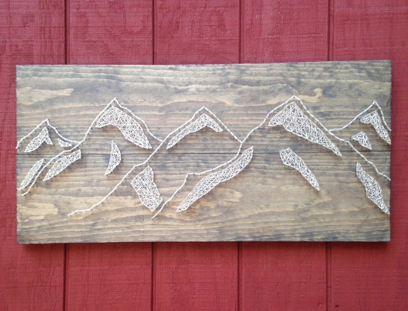 Large Mountain Range Nail Art Mountains Landscape Rustic Wooden Board Outdoors Sign Handcrafted Wall Art Home Decor
