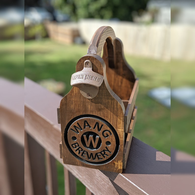 Personalized Beer Caddy with a Custom Engraving. This 6 Pack Walnut Single Sided