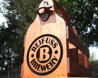 Customizable engraved Handmade wooden Beer Carrier Beer Tote Beer Caddy wood with custom with name