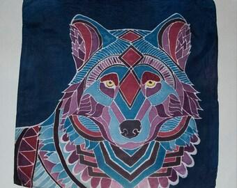 Wolf Silk Painting