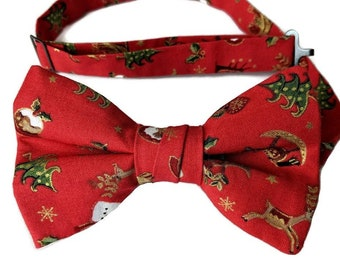 Red /& Gold Pre-tied Bow Tie Holiday Celebration Design for Baby to Adult