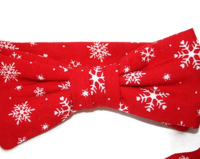 Red Snowflake Holiday Self-tie Bow Tie for Men Crafted in the USA