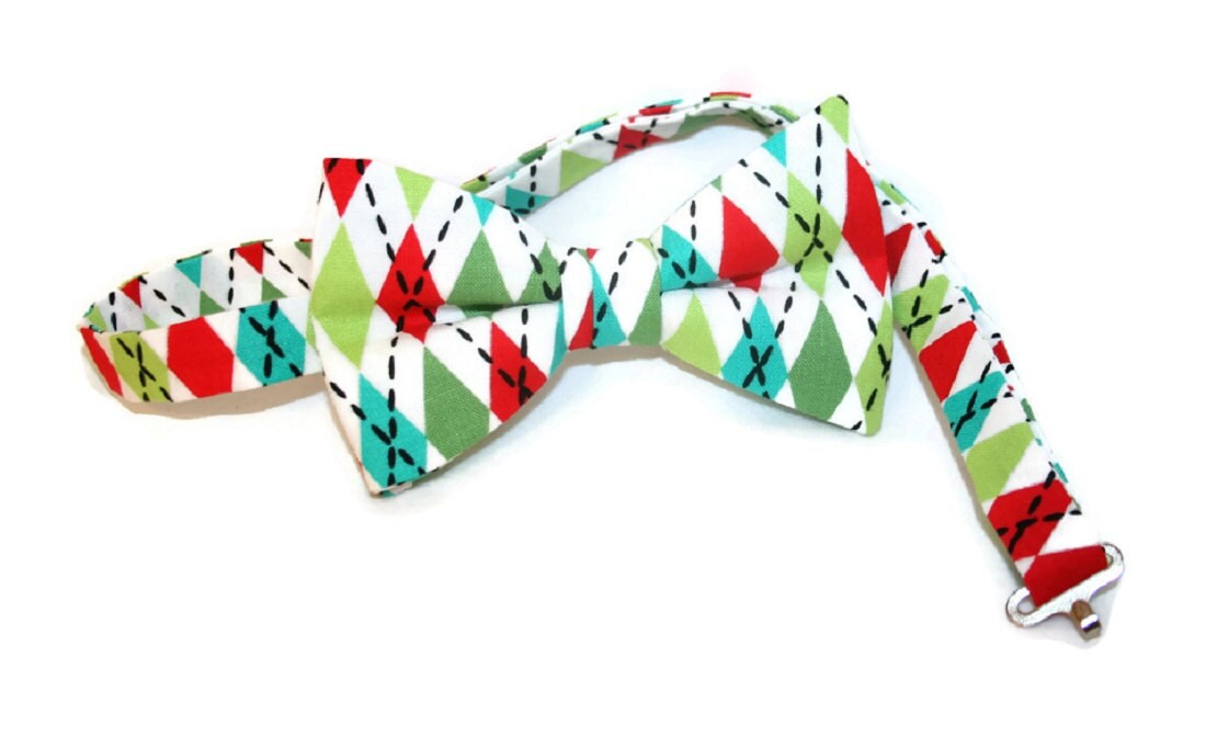 Argyle Pre-tied Bow Tie Holiday Colors for Baby to Adult