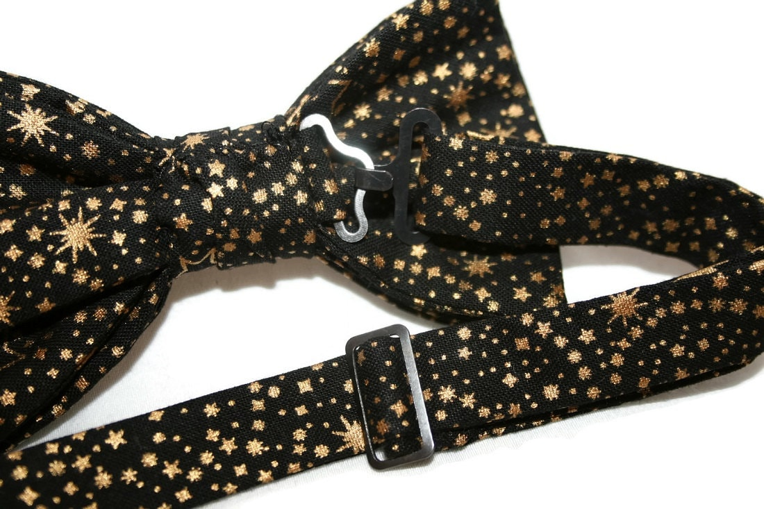 Baby to Adult Men/'s Sizing Black with Gold Metallic and Grey Stars Cotton Bow Tie Crafted in the USA Handmade Pre-Tied Bow Tie