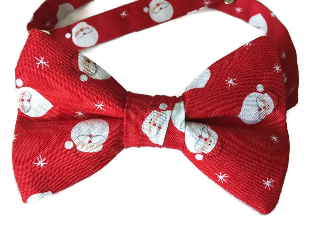 39461dab3b9e Santa Claus Handmade Pre-Tied Bow Tie - Christmas Red and White - Cotton Bow  Tie - Adult Men's to Baby Sizing - Crafted in the USA. 1