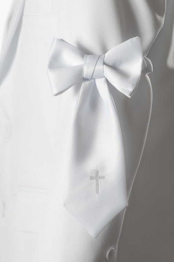 Holiday Bow Ties Boys White Satin Neck Tie for Communion Christening and Baptism