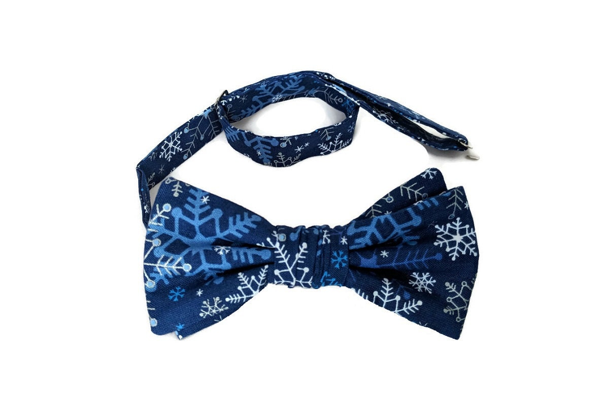 99dd876730fd Handmade Pre-tied Bow Tie - Royal Blue with Silver Snowflakes ...
