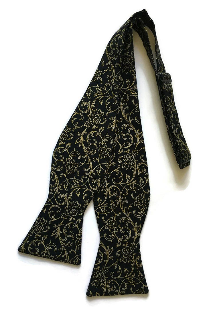 ad5a6447a94 Handmade Self-Tie Bow Tie - Black with Gold Metallic Roses   Swirls ...