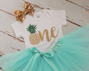 ec7d9a140 Pineapple Birthday Outfit Tutu Onesie Headband Gold and Mint Baby Girl  Birthday Outfit Pineapple Birthday Tutu Outfit