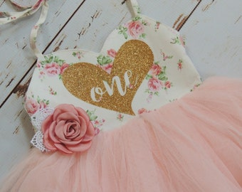 First Birthday Outfit First Birthday Dress Floral Pink Tutu Dress Birthday Outfit Boho Birthday Wild One Birthday Flower Girl Dress Party