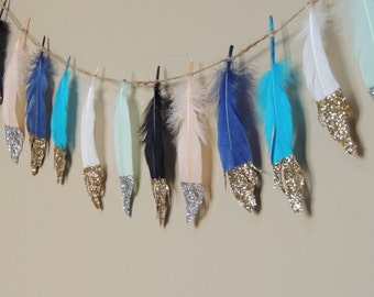 Feather Garland / Glitter Dipeed Feathers / Feather Banner Nursery Decor Baby Shower Decor Wild One Birthday First Birthday Tribal Decor