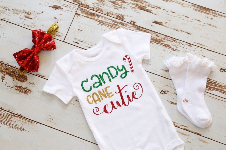 2b2944fdc Candy Cane Cutie Baby Christmas onesie Baby Girl Christmas