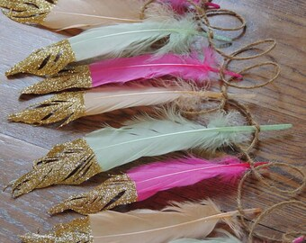 Feather Garland OR Feathers Glitter tipped/ Boho Decorations Photo prop Wedding Decor Nursery Baby Shower Gold Feathers Baby nursery