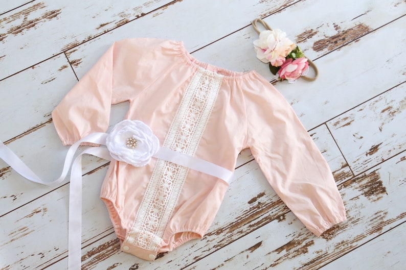 2eed95600ae9 Baby Girl Lace Romper Headband Birthday Girl Outfit Baby Girl