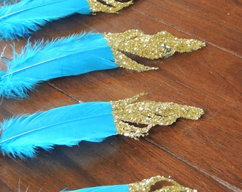 Feather Garland or Single Feathers Glitter Dipped Feathers Wild One Birthday Boho Party Decor Baby Shower Decor Nursery Decor Tribal