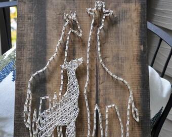 Giraffe Family | String Art Sign | Wall Decor | Nursery | Baby Shower Gift