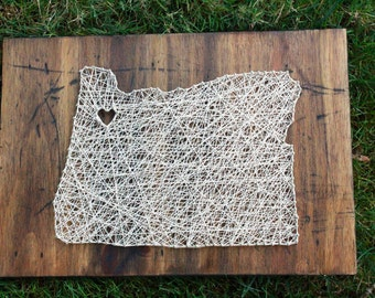 Custom Made, State String art, Wall Hanging with Heart, Oregon