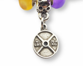Gym Charms Panda One Weight for Bracelet.Fitness Charms - Crossfit Charms - Bracelet Charms- Weight Charms - Body Building- Wod and Fit Gift