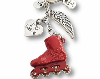 Skating Red Keychain I Love Skating- Inline skate - Roller skate - Roller Lovers Gift - In Line hockey- Street hockey- Seba- Gift for Skater