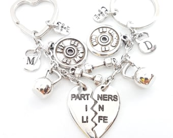 Partners in Life Broken Heart Couple Keychain with Motivational Weight Plates Gym Gifts- Bodybuilding- Boy Friends gift - Fitness - Crossfit