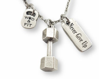 Gym Gift Necklace Dumbbell & Motivation- Fitness Jewels -Gift for Bodybuilder - Gym Gift- Bodybuilding Necklace- Crossfit Gift - Wod and Fit