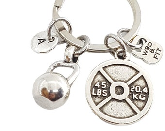 Kettlebell Weight Plate 45lbs & Inicial - Regalo Gym - Llavero Fitness - Bodybuilding - Gym Gift - Bodybuilder Gift - Keychain Crossfit Gift