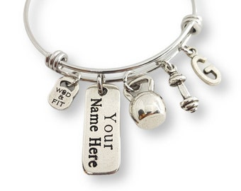 Gym Bracelet Betty with Your Motivation & Initial. Fitness gifts - Gym Gift- Crossfit Bracelet - Bodybuilding Bracelet - Custom Bracelet