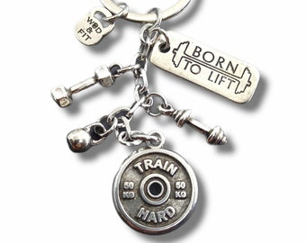 Gym Keychain Tabata Workout Gift - Weight lifting Team gift - Coach gift - Cross Fit Gift - Gym Gifts - Body Builder Gift- Wod & Fit Gift