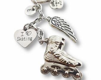 Skating Keychain I Love Skating. Skate - Inline skate - Roller skate - Roller dance - In Line hockey - Street hockey - Seba- Gift for Skater