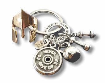 Spartan Key Ring Motivational Workout Gift - Warrior Keychain - The 300 Spartan Helmet - Spartan Gift - Motivational Gift - Gym Gifts