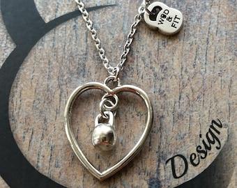 Necklace I Love Kettlebell Swings Workout Fitmom,FitGirl,Woman Gift,Girl Ideas,Girl gift,Sport Motivación,Joyas Fitness,Gift Crossfit Girl
