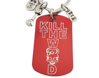 Custom Gym Keychain Kill The Wod Woman Skull Dumbbell  & Me vs Me - Name Gift- Bodybuilding- Fitness Gift- Gym Gift - Wod and Fit