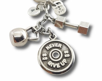 Gym Gift Keychain exercise Workout Motivational Weight Plate,Kettlebell,Dumbbell & Initial- Bodybuilding Gift- Gym Gift- Crossfit Gift Wod