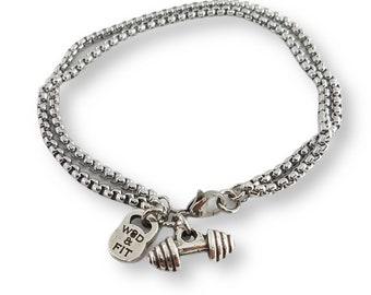 Bracelet Double Under Workout Man Bracelet- Gift Bodybuilding - Fitness Bracelet - Crossfit Bracelet - Gym Bracelet - Unisex Bracelet - Gym