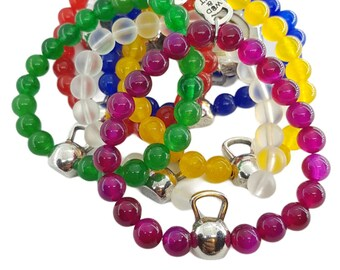 Bracelet Kettlebell Color Natural Stone Unisex Braclelet - Bodybuilding - Fitness Jewels - Gym Gift - Crossfit Girl Gift - Fitness Bracelet