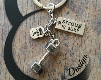 Dumbbell Keychain Feek Motivation workout Bodybuilding,Fitness,Kettlebell,Gym,Weightlifting,Barbell,Sport gift,Fitness Jewelry,Crosstraining
