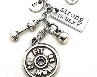 Keychain Fit Mom Workout Dumbbell,Kettlebell,Motivation & Initial.Bodybuilding Mom,Fitness Jewelry,Gym gifts,Gift for Mom,Crossfit Mom,
