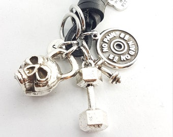 Skull Kettlebell Leather Keychain Motivational Plate, Dumbbel. Weightlifter - Bodybuilding Jewelry - Coach Gift - Crossfit Gift - Skull Gift