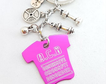 OCD Obsessive Crossfit Desorder Keychain Aluminum T Shirt Custom- Athlete name - Crossfit T Shirt- Gym T Shirt - Fitness - Bodybuilding Gift