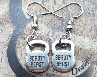 Earrings Double Kettlebell Workout Gym,Bodybuilding,Fitness Gift,Fitmom,Crossfit Girl,Fitness,Gym Gift,Motivational Gift,Womens fitness,Wod