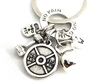 Keychain Weight Hansen Workout Weight plate 25lbs Kettlebell,Dumbbell,Motivation Ring & Initial Letter.Weight lifting Bodybuilding,Fitness