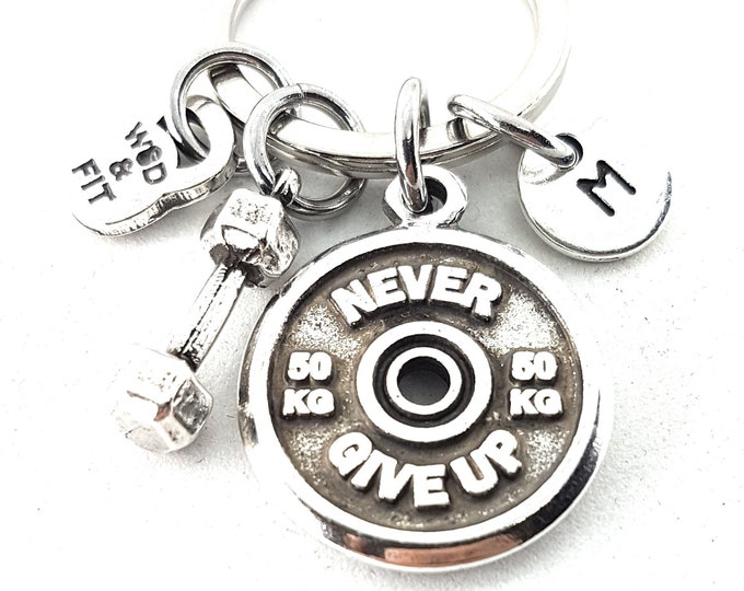 Featured listing image: Keychain Push Jerk Workout Motivational Weight Plates 50kg,Dumbbell Hex & Initial Weight lifting Gift,Fitness Jewelry Bodybuilding,Crossfi