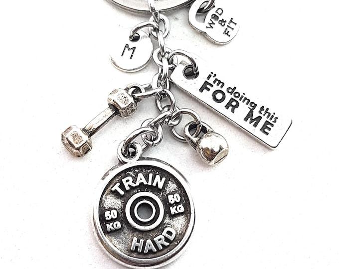 Keychain Train Hard FitPlate,Dumbbell,Kettlebell,Motivation & Initial letter.Bodybuilding Jewelry,Fitness,Gift For Coach,Crosstraining Wod