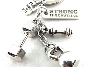 Keychain Rich Kettlebell Workout Motivation Gym,Dumbbell,Fitness gifts,Crossfit Gift,Gym Jewelry,Motivational Gift,Sport,Barbell,Dumbbell