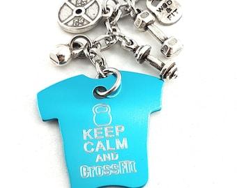 Gym shirt Keychain Keep Calm and Crossfit Keychain - Custom- Shirt - Crossfit Shirt- Gym Shirt - Fitness shirt - Bodybuilding - Wod & Fit