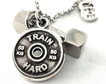 Gym Necklace Strongman Workout Dumbbell & Motivational Weight Plare - Gift for Bodybuilding - Gym Necklace - Powerlifter - Weightlifter Gift